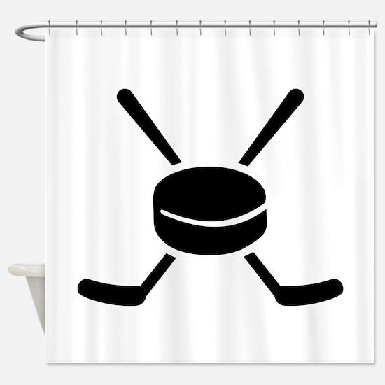 Crossed hockey sticks puck Shower Curtain