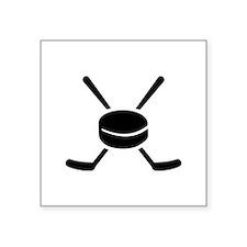 "Crossed hockey sticks puck Square Sticker 3"" x 3"""