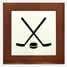 Hockey sticks puck Framed Tile