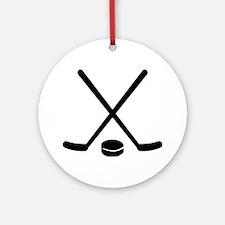 Hockey sticks puck Ornament (Round)