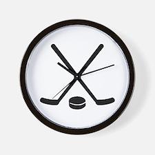 Hockey sticks puck Wall Clock