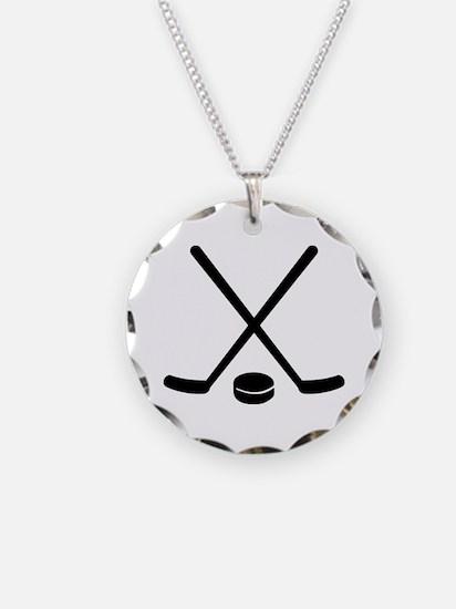 Hockey sticks puck Necklace Circle Charm