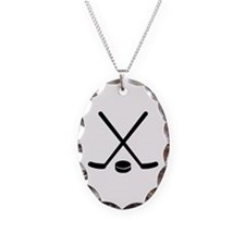 Hockey sticks puck Necklace Oval Charm