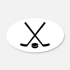 Hockey sticks puck Oval Car Magnet