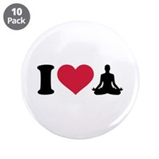 """I love Yoga 3.5"""" Button (10 pack)"""