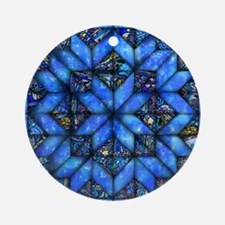 Blue Paisley Quilt Ornament (Round)