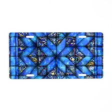 Blue Paisley Quilt Aluminum License Plate