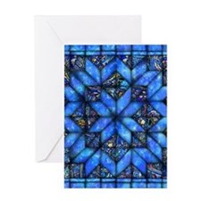 Blue Paisley Quilt Greeting Cards