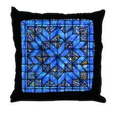 Blue Paisley Quilt Throw Pillow