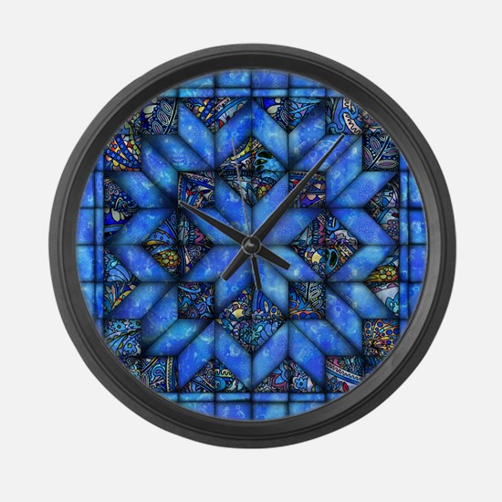 Blue Paisley Quilt Large Wall Clock