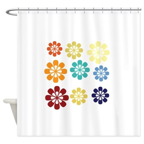 cute bright floral shower curtain by technotextnl