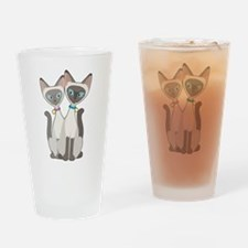 Siamese Cats Drinking Glass