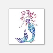 "Tribal Mermaid Square Sticker 3"" X 3"""