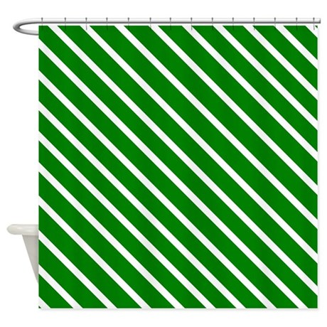 White And Green Stripes Shower Curtain By Verycute