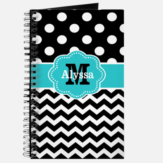 Black Teal Dots Chevron Personalized Journal