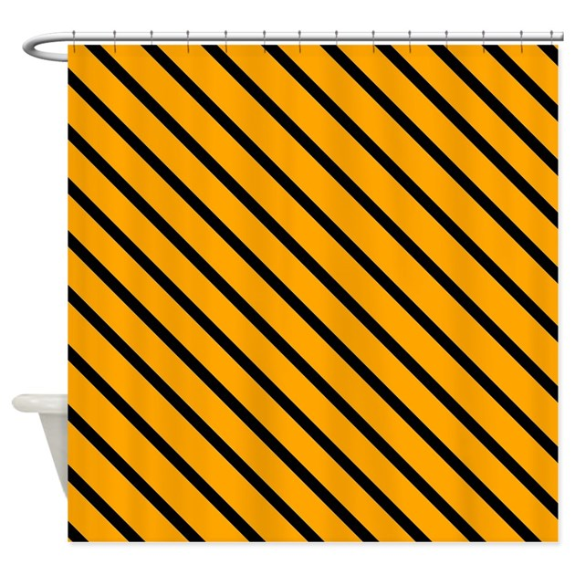 Black And Orange Stripes Shower Curtain By VeryCute