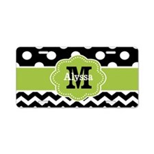 Black Green Dots Chevron Personalized Aluminum Lic