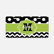 Black Green Dots Chevron Personalized Aluminum Lic