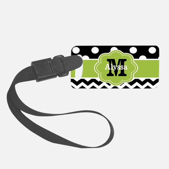 Black Green Dots Chevron Personalized Luggage Tag