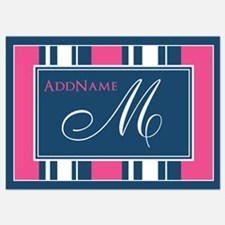 Navy Monogram Stripes Invitations