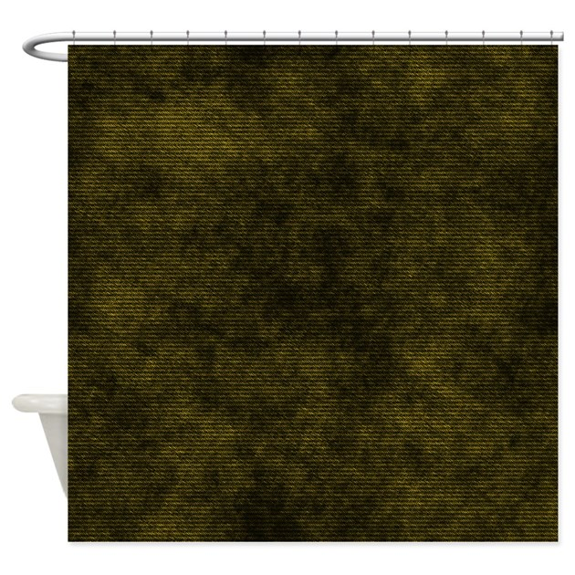 Black And Gold Fabric Shower Curtain By CutePrints