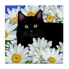 Black Cat Daisies Tile Coaster