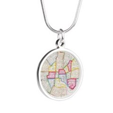 Vintage Map of Downtown Balt Silver Round Necklace