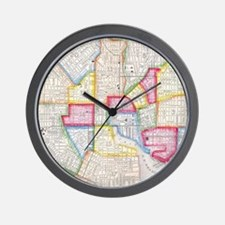 Vintage Map of Downtown Baltimore (1860 Wall Clock