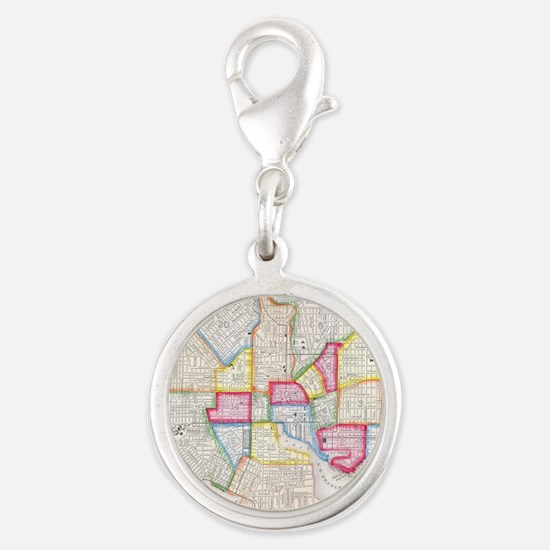 Vintage Map of Downtown Baltim Silver Round Charm