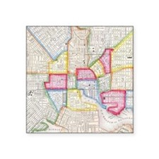 "Vintage Map of Downtown Bal Square Sticker 3"" x 3"""