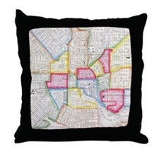 Vintage Map of Downtown Baltimore (18 Throw Pillow