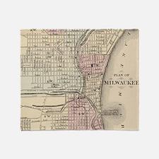 Vintage Map of Milwaukee (1880) Throw Blanket