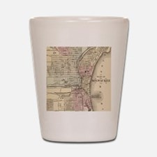 Vintage Map of Milwaukee (1880) Shot Glass