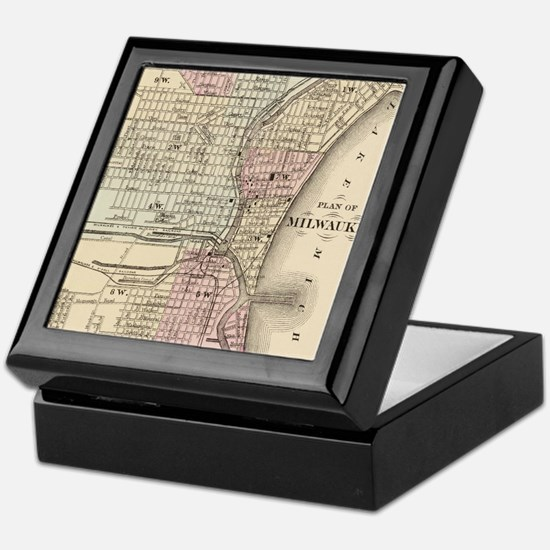Vintage Map of Milwaukee (1880) Keepsake Box