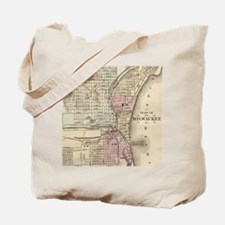 Vintage Map of Milwaukee (1880) Tote Bag