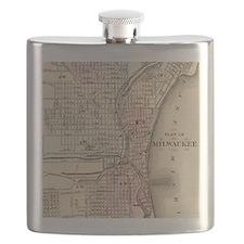 Vintage Map of Milwaukee (1880) Flask