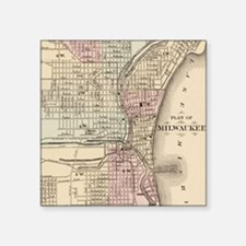 "Vintage Map of Milwaukee (1 Square Sticker 3"" x 3"""