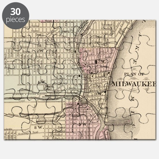 Vintage Map of Milwaukee (1880) Puzzle