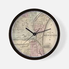 Vintage Map of Milwaukee (1880) Wall Clock