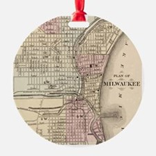 Vintage Map of Milwaukee (1880) Ornament