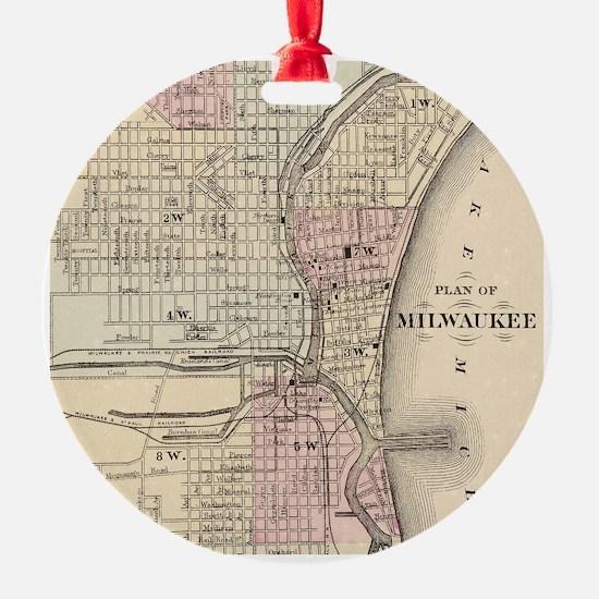 Vintage Map of Milwaukee (1880) Ornament