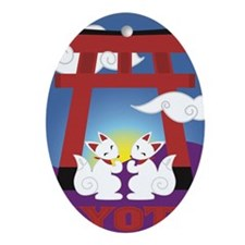 Kyoto Kitsune Shrine Oval Ornament