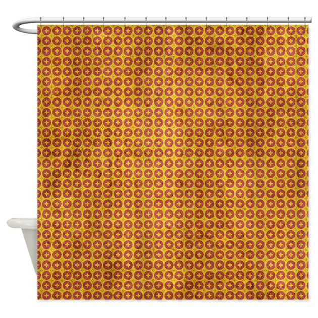 red and yellow grunge wallpaper shower curtain by cuteprints. Black Bedroom Furniture Sets. Home Design Ideas