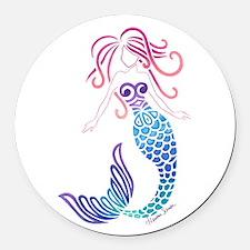 Tribal Mermaid Round Car Magnet