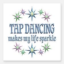 "Tap Dancing Sparkles Square Car Magnet 3"" x 3"""