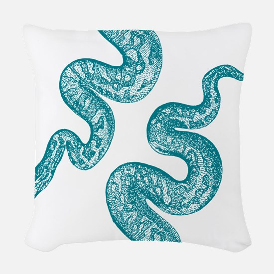 Vintage Snake Graphic Woven Throw Pillow