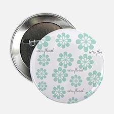 Retro Floral Fashion Mint Green White Pattern 2.25