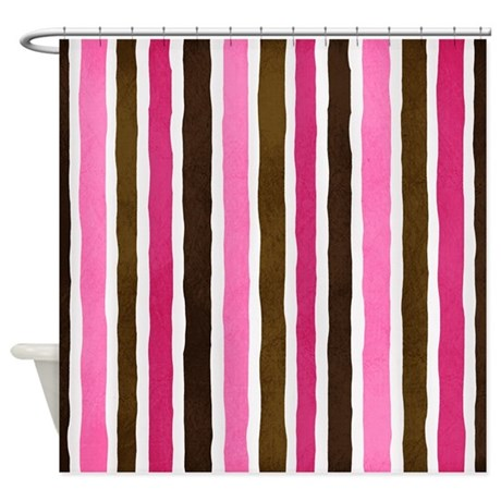 Brown Pink Stripes Shower Curtain By MLSDesigns