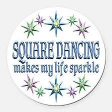 Square Dancing Sparkles Round Car Magnet