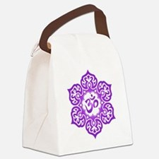 Purple Lotus Flower Yoga Om Canvas Lunch Bag